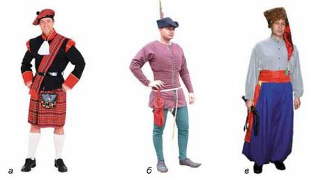 Традиційний чоловічий одяг різних європейських країн  а - спідниця  feb0f24e1c5dc